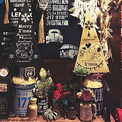 玄関/入り口/クリスマス/男前/クリスマスツリーDIY/100均リメイク...などのインテリア実例 - 2017-11-29 19:20:09