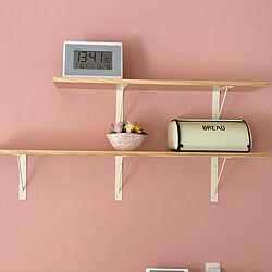 ピンクの壁紙/キッチン背面の棚/時計/アンティーク/マイホーム計画...などのインテリア実例 - 2020-02-14 06:10:43