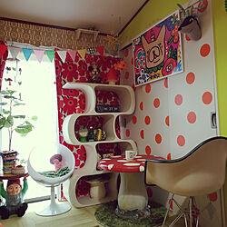 棚/キノコテーブル/一人暮らし/ドット/カラフルな部屋...などのインテリア実例 - 2018-09-27 16:06:00