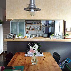 キッチン/いいね!ありがとうございます♪/花の名前が分かりません/ダイニングテーブル/天板DIY...などのインテリア実例 - 2017-02-07 10:45:08