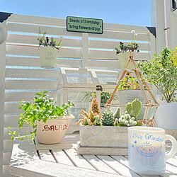 ガーデン雑貨/ベランダガーデン/モーニングコーヒー/ホワイトガーデンに憧れて!/ダルトンサインプレート...などのインテリア実例 - 2021-04-23 10:43:14