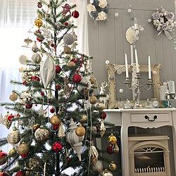 ホワイト/グレー/ニトリ/クリスマスインテリア/リース...などのインテリア実例 - 2019-12-01 12:43:20