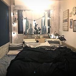 ベッド周り/フェイクグリーン/ショップ風/山善/ネイビーの壁...などのインテリア実例 - 2018-07-10 19:06:07