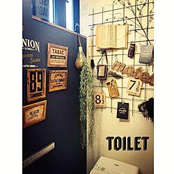 バス/トイレ/タンクレス/切り文字/木製アルファベット/ブルーグレーの壁...などのインテリア実例 - 2016-12-05 13:29:10