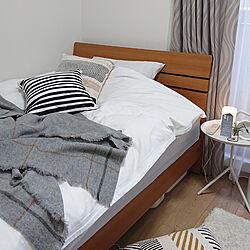 ベッド周り/ひとり暮らし 1K/IDÉEのブランケット購入/IDEEのクッションカバーのインテリア実例 - 2021-01-17 17:13:27