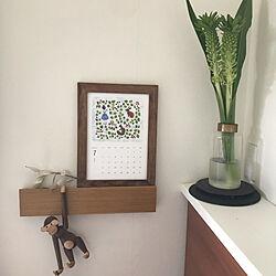 スタジオクリップのカレンダー/チーク材のフレーム/浅野みどりさん/カイボイスンモンキーはリプロダクト/無印良品 壁に付けられる家具...などのインテリア実例 - 2021-07-03 11:17:39