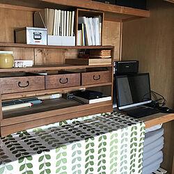 パソコン置き場/賃貸/空き瓶/棚 DIY/古い引き出し...などのインテリア実例 - 2019-04-12 11:41:54