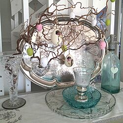 棚/Old silver plate/antique/easter eggs/Twigsのインテリア実例 - 2013-03-26 21:49:30