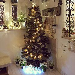 玄関/入り口/ホワイトシクラメン/ニトリクリスマス/玄関ディスプレイ/studio clipハーフツリー...などのインテリア実例 - 2018-11-06 20:39:53