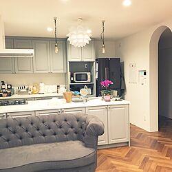 キッチン/グレー/ヘリンボーン床/IKEA/無印良品...などのインテリア実例 - 2017-04-23 21:58:33