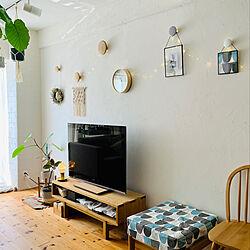 テレビ台/無垢の家具/いいね&フォローありがとうございます☆/北欧xDIY/漆喰壁...などのインテリア実例 - 2020-05-22 21:01:17