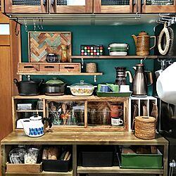 壁/天井/キッチン/グリーンの壁紙/緑の壁紙/アクセントクロス...などのインテリア実例 - 2017-01-25 09:28:57