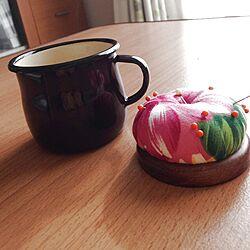 机/ホーローのマグカップ/コーヒー大好き♡/縫い物のインテリア実例 - 2014-01-20 13:13:12