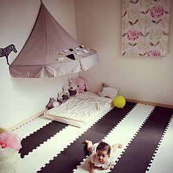 ベッド周り/子供部屋/モノトーンマット/IKEA/キッズルームのインテリア実例 - 2016-08-20 22:25:12