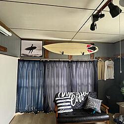 サーフボードラック/サーフボード壁掛け/サーフィン雑貨/ハワイアンインテリア/仕切り壁DIY...などのインテリア実例 - 2021-02-23 15:08:39