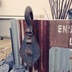 玄関/入り口/滑車/ジャンク/ガーデン/さびさびのインテリア実例 - 2014-03-30 15:18:48