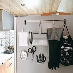 キッチン/ゴミ袋収納/文房具/モノトーン/冷蔵庫横...などのインテリア実例 - 2018-06-29 07:35:02