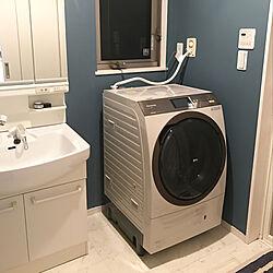 パナソニック洗濯機/ブルーグレーの壁/DIY/バス/トイレのインテリア実例 - 2020-05-24 22:37:42
