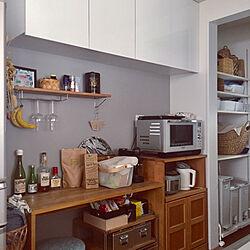 キッチン/IKEA/アクセントクロスグレー/ウォールシェルフ/生活感...などのインテリア実例 - 2018-05-23 14:20:20