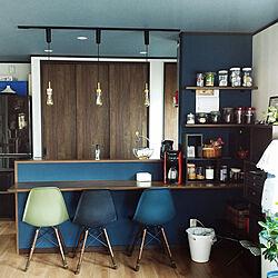 キッチン/キッチンカウンター/ブルーの壁/新築一戸建て/ネイビーの壁...などのインテリア実例 - 2019-04-24 15:03:10