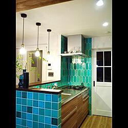 キッチン/キッチンタイル/緑のタイル/キッチンカウンター/緑が好き...などのインテリア実例 - 2018-10-08 23:03:38