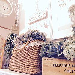 玄関/入り口/ユーカリドライ/紫陽花ドライフラワー/時計♪/かご...などのインテリア実例 - 2015-07-15 17:26:29