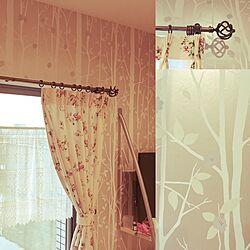 ベッド周り/乙女部屋/花柄カーテン/装飾レール/アイアンレール...などのインテリア実例 - 2016-05-11 11:56:40
