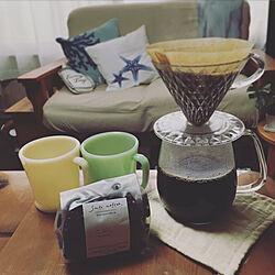 ニトリのクッションカバー/KINTO ティーポット/Fire-King/コーヒーのある暮らし/コーヒー...などのインテリア実例 - 2019-05-23 18:26:18