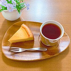 IDEE木製トレイ/ウニッコラテマグ/マリメッコラテマグ/娘作おやつ/チーズケーキ...などのインテリア実例 - 2020-05-09 16:07:27