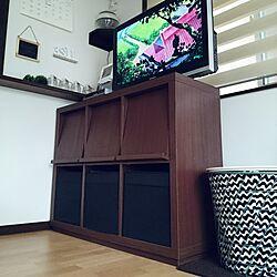山善収納部/隠す派/IKEA/サイドテーブル/TV台収納...などのインテリア実例 - 2017-02-10 15:00:53