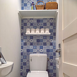 我が家のトイレ/壁紙が自慢/トイレットペーパー見せる収納/棚/IKEA...などのインテリア実例 - 2019-05-22 23:16:44