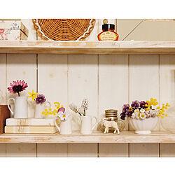 棚/花のある暮らし/ミルクピッチャー/ミニカフェオレボウル/小さなお花...などのインテリア実例 - 2019-03-03 17:17:47