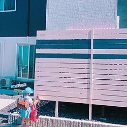 玄関/入り口/目隠しフェンス/青×白/ウッドフェンス/外構のインテリア実例 - 2018-07-05 21:25:40