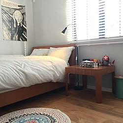 ベッド周り/無垢の床/アートポスター/ムンク/ネフ...などのインテリア実例 - 2018-04-17 18:28:38