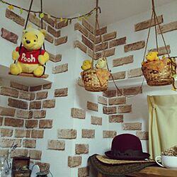 壁/天井/吊るして飾る/天井からぷーさん♪/レンガシート/セリア...などのインテリア実例 - 2015-09-20 12:23:29