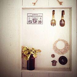 壁/天井/素麺箱リメイク/手作りミニシェルフ/セリア/紫陽花ドライのインテリア実例 - 2013-08-04 10:06:45