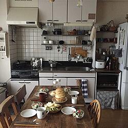 キッチン/ホットケーキ/朝ごはん/賃貸暮らし/アパート暮らし...などのインテリア実例 - 2017-11-23 09:02:04