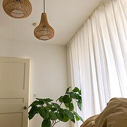 寝室インテリア/寝室の窓/寝室の照明/ラタン照明/無印良品 カーテン...などのインテリア実例 - 2021-03-04 08:37:06