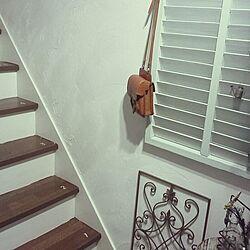 玄関/入り口/漆喰塗り壁/階段ペイント/ルーバーペイント/変なカバンのインテリア実例 - 2014-04-08 12:37:22