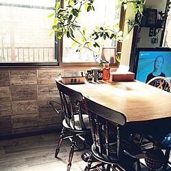 キッチン/ワインボックス壁紙/セルフリフォーム/アンティーク家具/カフェ風インテリアを目指して...などのインテリア実例 - 2018-03-17 11:25:05