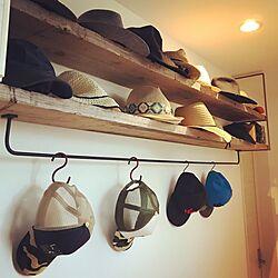 棚/帽子収納/アイアンバー/帽子ディスプレイ/古材×アイアン...などのインテリア実例 - 2017-05-28 18:52:32