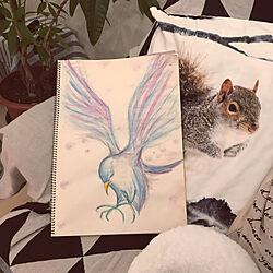 リビング/鳥さんのお絵かき/構図を真似させていただきましたわ/模写とまではいきません/鉛筆と水彩パステル...などのインテリア実例 - 2019-01-01 20:53:17