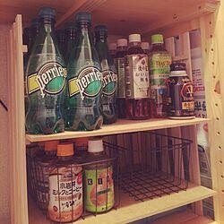 ダイソー/飲み物ばっかり/ペリエがいっぱい/すのこ棚/セリア...などのインテリア実例 - 2015-09-16 10:12:29