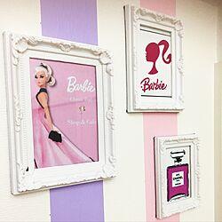壁/天井/バービー/100均アイテム/barbie/マスキングテープ 壁...などのインテリア実例 - 2017-03-28 21:28:18