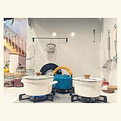 キッチン/カインズ/カインズホーム/ふきこぼれにくいホーロー両手鍋/ふきこぼれにくいホーロー片手鍋...などのインテリア実例 - 2021-02-17 16:49:59