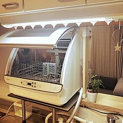 食洗機最高/食洗機 AQUA/キッチンカウンターの上/狭いキッチンに食洗機/キッチンカウンター...などのインテリア実例 - 2021-01-12 09:59:54