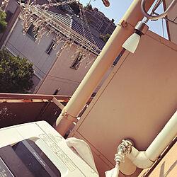 洗濯機/ソーラーライト/ダイソー/洗濯機ベランダ置き/ふたり暮らし...などのインテリア実例 - 2019-08-13 08:29:06