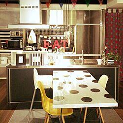 キッチン/水玉模様/モノトーン/アルファベットオブジェ/IKEAのインテリア実例 - 2015-10-03 00:27:16