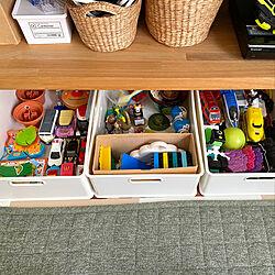 ニトリ/造作テレビ台/ニトリのインボックス/おもちゃ収納/三建...などのインテリア実例 - 2020-07-12 10:19:25
