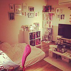 部屋全体/ダブルベッドを独り占め/壁 フレーム/IKEA/Pink...などのインテリア実例 - 2016-09-30 00:46:12